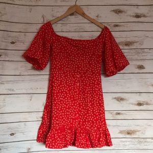 ASOS   orange red mini off the shoulder dress NWT